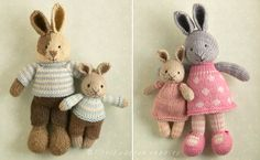 Earlier this year I started playing around with the idea of a mini version of my knitted bunnies. I wanted a pattern that was a little simpler to knit and construct than my regular sized animals (they are shown in. Knitting Bear, Knitting Patterns Free Dog, Knitted Washcloth Patterns, Teddy Bear Knitting Pattern, Knitted Bunnies, Knitted Animals, Knitted Dolls, Bunny And Bear, Little Cotton Rabbits