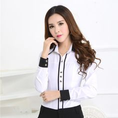 New 2015 Spring Autumn Formal White Shirts Women Blouses Work Wear Long Sleeve OL Office Uniform Shi White Shirts Women, Shirts For Girls, Blouses For Women, Uniform Shirts, Cute Blouses, Formal Shirts, Mode Outfits, Blouse Styles, Work Wear
