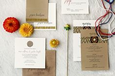 The delicate fonts used in this stationery suite easily offset the strong graphic design elements. | Photography By: Hong Photography | WedLuxe Magazine | #wedding #luxury #weddinginspiration #luxurywedding #stationery #weddinginvitations #invitations #stationerysuite #graphicdesign