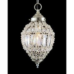 Bombay Single Light Small Ceiling Pendant In Crystal And Polished Chrome Finish