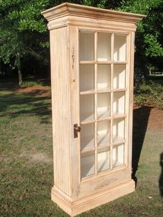 Front view of old door cabinet built by A Doorable Designs