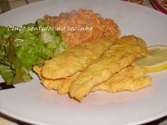 Cinco sentidos na cozinha: Tiras de pescada panadas com arroz de tomate e feijão branco
