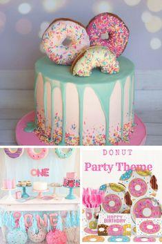 donut cake Found on Bing from First Birthday Party Themes, Donut Birthday Parties, First Birthday Cakes, Girl First Birthday, Little Girl Birthday Cakes, Second Birthday Ideas, Donut Party Supplies, Birthday Supplies, Doughnut Cake