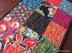 Modern Quilted Patchwork Table Runner Bold by PatsPassionQuilteds