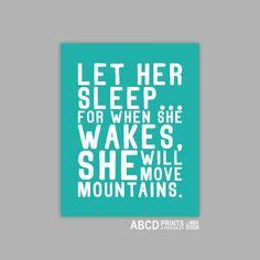 Baby girl nursery art Quote print Let her sleep... by MiraDoson, $12.00