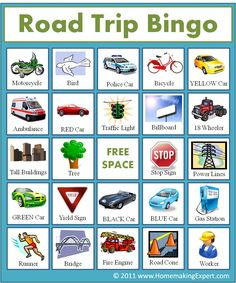 FREE Road Trip Bingo Game for Kids - when somebody sees an object, everybody cross it off on their cards, the first person to have 5 crossed in a row (vertical, diagonal, horizontal), wins