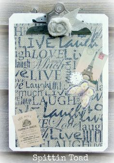 Altered Clipboard - Spittin Toad: Shop Pics and More Burlap Love.... #ClipBoard