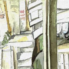 Detalhes de um desenho de dentro do restaurante da Tonha Santa Marta Details of a drawing from Tonhas restaurant at Santa Marta slum watercolor dwgdaily