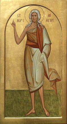 Saint Mary of Egypt Sf Maria Egipteanca Religious Pictures, Religious Icons, Religious Art, Byzantine Icons, Byzantine Art, St Mary Of Egypt, Greek Icons, Christian Pictures, Painting Studio