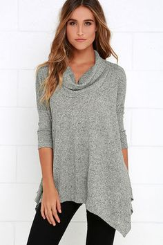 There's really nothing better than feeling free and cozy simultaneously! Get cute and toasty in the Up Close and Cozy Heather Grey Oversized Top with a relaxed cowl neckline and dolman half sleeves. Wide-cut, ribbed knit bodice ends in a flowy, pointed hem.