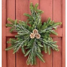 Create a snowflake wreath using the left over branches cut from the bottom of your Christmas tree. These would make nice window decorations instead of the typical wreaths. Noel Christmas, Rustic Christmas, Winter Christmas, Christmas Greenery, Christmas Projects, Holiday Crafts, Holiday Fun, Holiday Ideas, Festive