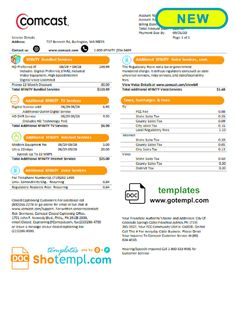 USA Comcast utility bill template in Word format