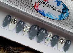 Grey Stiletto Nails White Stiletto Nails Holographic nails