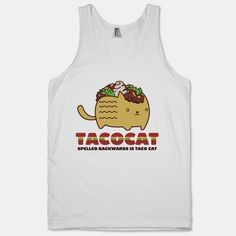 Have some fun with palindromes with this Tacocat tank!   The American Apparel Tank Top is a 100% combed cotton, mid-lightweight jersey fabric tank with a classic, slimming cut