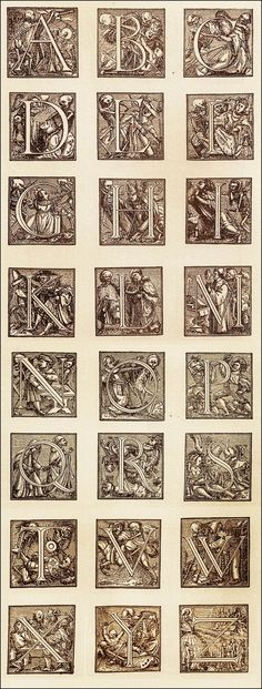 """The Alphabet of Death"" by Hans Holbein, originally published in the early to mid 16th century  // The letters J and U are conspicuously missing, but to viewers of the time would have appeared identical to I and V."