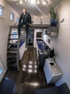 Wes's tiny house design is extremely spacious, thanks partially to the foundation of the Tumbleweed's new Low-Wider trailer, which maximizes width and height.