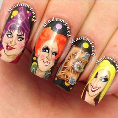 Madam Luck: My hand painted Hocus Pocus nail art from last year has been popping up A LOT this week.. And the amount of messages I've been getting about where can these be purchased and / or where do I work.. One day people.. One day when my babies can take care of them selfs I plan on taking my love of doing nails and attending school. But for now I will continue to do what I love from the comfort of my home