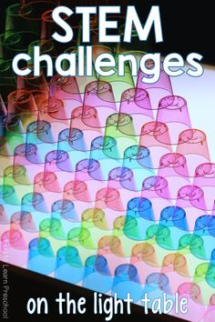 Challenge your young learners to use these colorful cups, tubes and balls to build their creations on the light table. It's art; it's engineering; it's fun! via @PlayToLearnPS