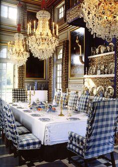 Checked fabric in grand interior spaces