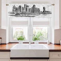 carmaxs Sketchy Bathroom Window Curtain, New York Manhattan Cityscape Hand Drawn Style Skyscrapers Modern Boat on River, 54″ x 12″, Black White Bathroom Window Curtains, Bathroom Windows, Panel Curtains, White Faux Wood Blinds, Bamboo Roman Shades, Wood Valance, Orac Decor, Horizontal Blinds