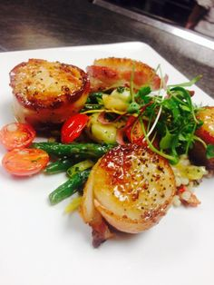 Bacon Wrapped Scallops with Seasonal Vegetables at Balaban's in Chesterfield, Missouri