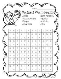 Continent Word Search FREEBIE Learn about the continents by including this fun activity. 3rd Grade Social Studies, Social Studies Worksheets, 2nd Grade Worksheets, Social Studies Activities, Teaching Social Studies, Science Worksheets, 2nd Grade Geography, Teaching Geography, World Geography