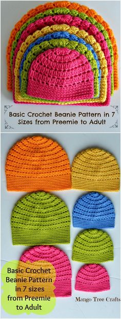 Crochet Beanie mango tree crafts crochet hat sizes - we have brought here this collection of 17 crochet baby beanie hat patterns that have been provided along with full free patterns, but here these hats have been Basic Crochet Beanie Pattern, Crochet Hat Sizing, Beau Crochet, Bonnet Crochet, Crochet Baby Beanie, Crochet Cap, Crochet Basics, Crochet For Kids, Crocheted Hats