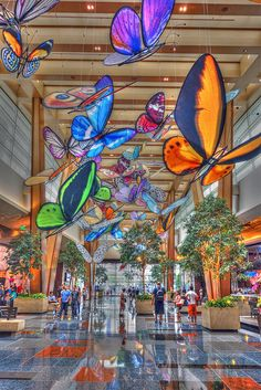 Butterfly Lobby, Aria Hotel and Casino, Las Vegas Strip*** I MUST STOP HERE*** I LOVE BUTTERFLIES! <3