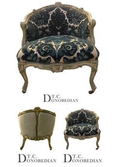 This lovely chair sold by T.C. Donobedians Paris Flea features carved wood, and supple velvet fabric.