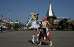 Cosplay enthusiasts practice for Hinode, a festival celebrating Japanese pop culture, in Moscow, April 20, 2014. The event included a regional competition for the World Cosplay Summit 2014, where contestants will dress up as characters from Japanese anime, games and movies. The winners will represent Russia for the Summit in Japan.