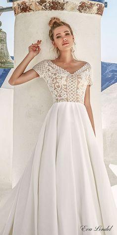 Eva Lendel 2017 bridal short sleeves v neck heavily embellished bodice romantic pretty a  line wedding dress sheer v back royal train (sidny) zv #wedding #bridal #weddingdress