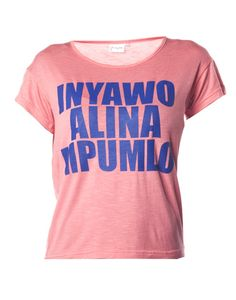 Slogan T-Shirt in Coral