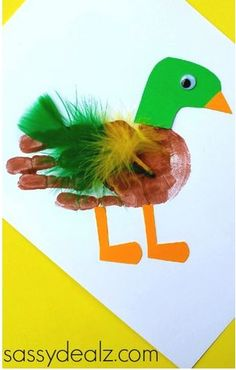 Mallard Duck Handprint Craft- pinned by @PediaStaff – Please Visit  ht.ly/63sNt for all our pediatric therapy pins