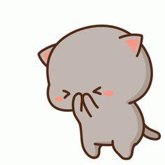 The perfect Cat Love Cute Animated GIF for your conversation. Cute Bear Drawings, Cute Cartoon Drawings, Kawaii Drawings, Cute Kawaii Animals, Kawaii Cat, Anime Kawaii, Cute Cartoon Pictures, Cute Love Cartoons, Cute Images