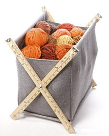 Super cute basket with yard sticks, dowels & wool. I think this would work with other sturdy fabric too i.e. canvas, denim, duck cloth, etc.