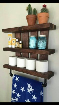 Bathroom shelf and nursery shelf, with pipe towel and baby blanket rack. Store all your bathroom essentials in style with this beautiful dark wood(Diy Bathroom Shelf) Pallet Shelves, Bathroom Essentials, Bathroom Decor, Rustic Bathroom Shelves, Diy Furniture, Diy Towels, Creative Shelving Ideas, Diy Towel Rack, Diy Bathroom Storage