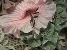 Pink Lilies Mauve Pansies Ribbon Flower by ConeldasCreations, $39.95