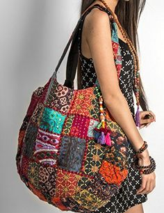 b3f0a165c6 Hippie Handmade Shoulder Beach Bag Tote Boho Chic Patchwork Embroidered  Purse Red Casual Everyday Roomy Laptop