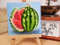 Mini Painting / Magnet Still Life Watermelon Original Handmade Small Oil Painting miniature fine art romantic cute gift