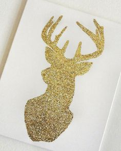 "Buy it on Etsy: Large Glitter Deer Silhouette Canvas Art, Glitter Deer Art, Fall/Christmas Decoration 16"" x 20"""