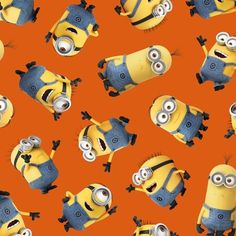 ORANGE-TOSSED MINIONS Item# 23990-O Minions Movie Quilting Fabric - Buy at Tea Time Quilting $10.95 per yard