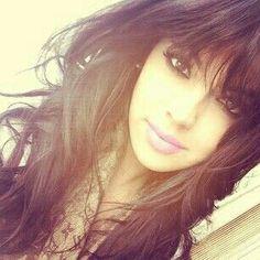 Curly Brown Hair With Bangs . Smokey Eye & Pink Lip