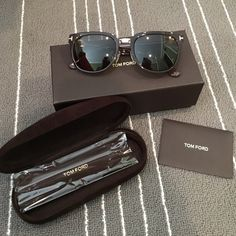 "Tom Ford Sunglasses Brown. ""Rock"" style. Oversized. Very cute on. ""T"" logo wraps around the side. Comes with case, unopened cleaning cloth, box, & authenticity card. Gently used, no scratches. No lowball offers, i would rather keep these. No trades. Tom Ford Accessories Sunglasses"