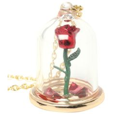 Disney Beauty And The Beast Rose Glass Pendant | Hot Topic (15 AUD) ❤ liked on Polyvore featuring jewelry, pendants, necklaces, glass jewelry, glass pendants, charm pendant, rose jewelry and rose pendant