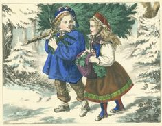 Boy and girl carrying a Christmas tree home in winter snow Free Vintage Antique Illustration Christmas Images, A Christmas Story, Vintage Christmas, Christmas Cross, Christmas Holiday, Antique Illustration, Vintage Ornaments, Free Illustrations, Vintage Prints