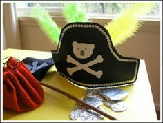 """Make these easy pirate hats for pirate theme party - also appreciate toddler- friendly """"teddy bear and cross bones"""" decal."""
