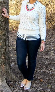 pointelle sweater, fan fringe necklace, cap toe flats
