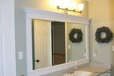 diy bathroom mirror frame ideasFull of Great Ideas: Framing a builder grade mirror that is not Diy Vanity Mirror With Lights, Mirror Trim, Diy Mirror, Mirror Ideas, Mirror Framing, Vanity Mirrors, Frame A Mirror, Mirror Shelves, Mirror Clips