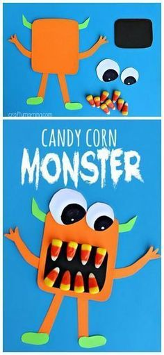 october crafts for kids Make some scary candy corn monster crafts with your kids! This is the perfect Halloween art project to make with them. Halloween Art Projects, Fröhliches Halloween, Halloween Themes, Projects For Kids, Halloween Projects For Toddlers, Preschool Halloween Crafts, Halloween Candy Crafts, Classroom Halloween Party, Halloween Makeup