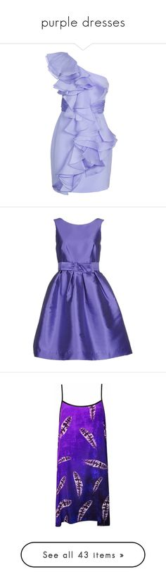"""purple dresses"" by krystalina123 ❤ liked on Polyvore featuring dresses, vestidos, vestiti, short dresses, women, silk mini dress, embellished cocktail dresses, ruffle dress, lilac cocktail dress and silk dress"